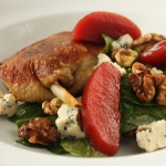 Confit duck maryland with blue cheese, quince & walnut salad