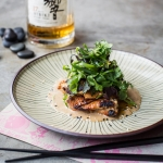 Sake lees marinated grilled chicken with herb salad & sesame chilli sauce